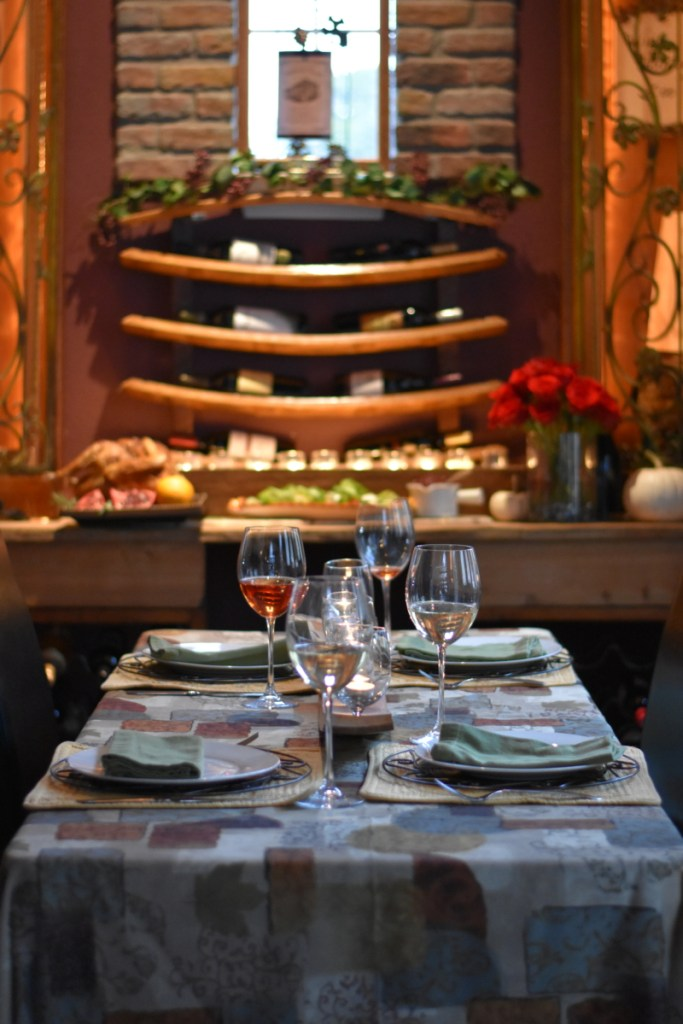 Wine room, holiday table