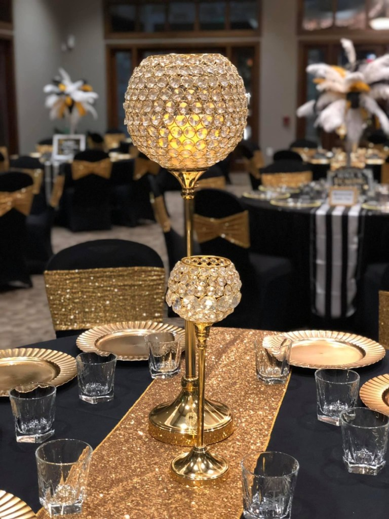 Gold and black table decor