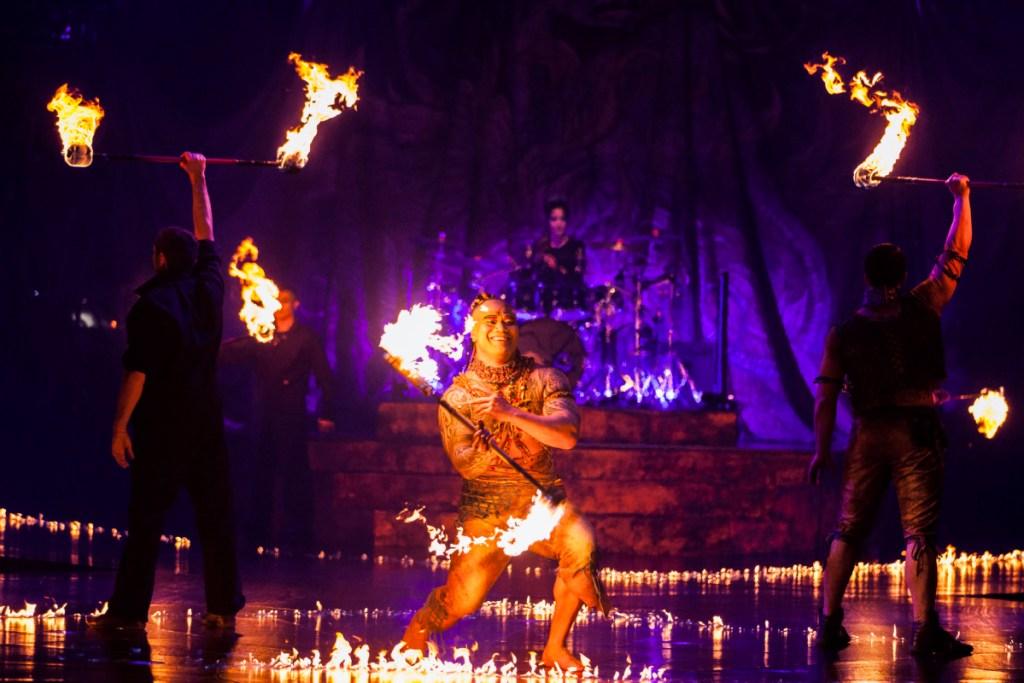Alegria fire dancer