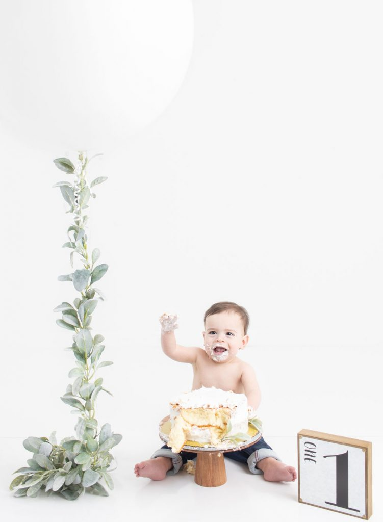 One year photo shoot, simple backdrop
