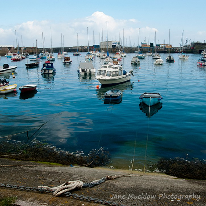 View of fishing boats in Penzanze or Newlyn harbour, by Jane Mucklow Photography
