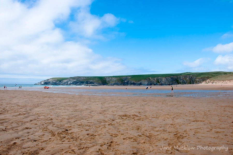 View looking north across Holywell Bay to West Pentire headland, Cornwall, by Jane Mucklow Photography