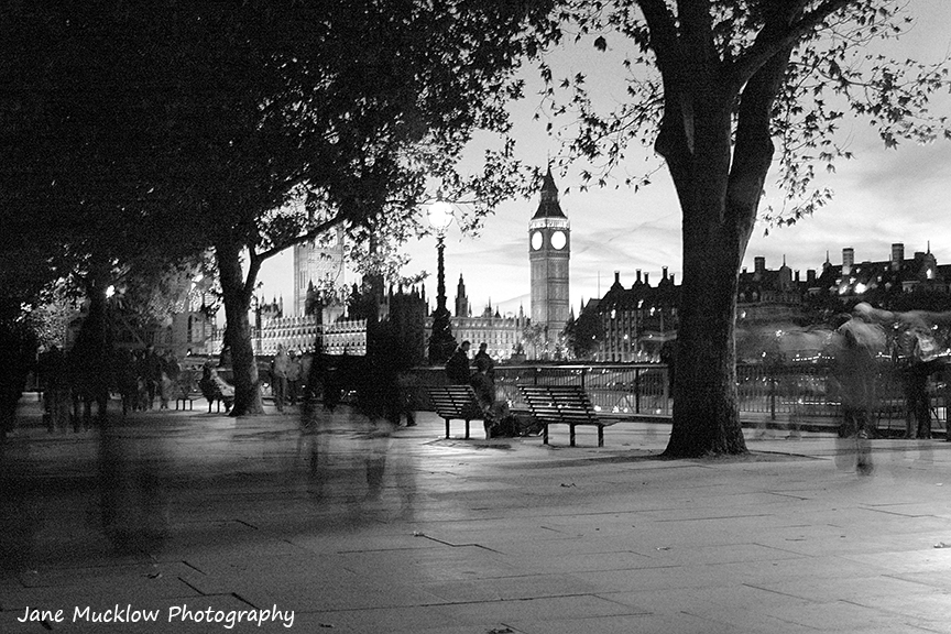 Black and white photograph of Big Ben and Westminster taken at night, by Jane Mucklow
