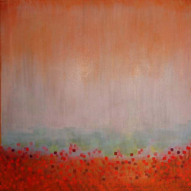 Fields of Red, acrylic, 30x30 inches, commissioned