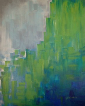 Causeway, Gradients in Green and Grey, acrylic, 48 x 60 inches, commissioned