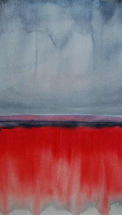 Horizons in grey, red, pink, + silver, #1, 22 x 29 inches, watercolor + gouache, SOLD