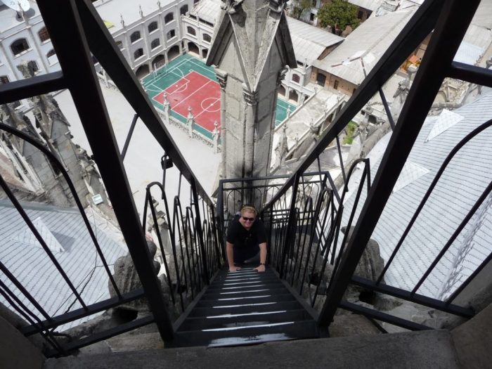 Church steps in Quito, Ecuador, tour group challenges