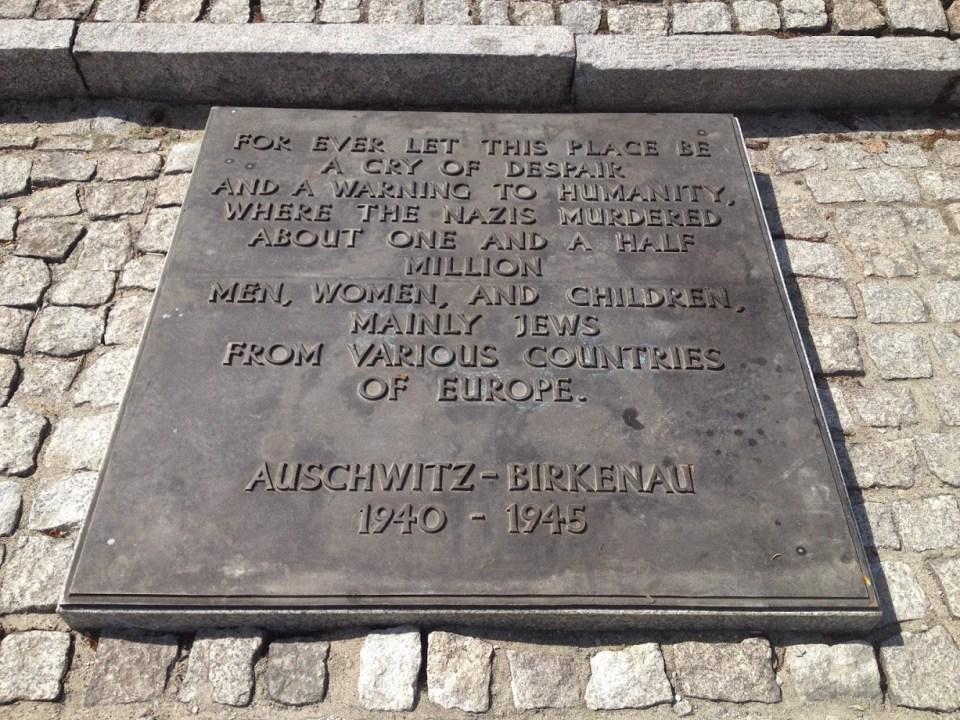 Plaque at Auschwitz Poland vacation travel
