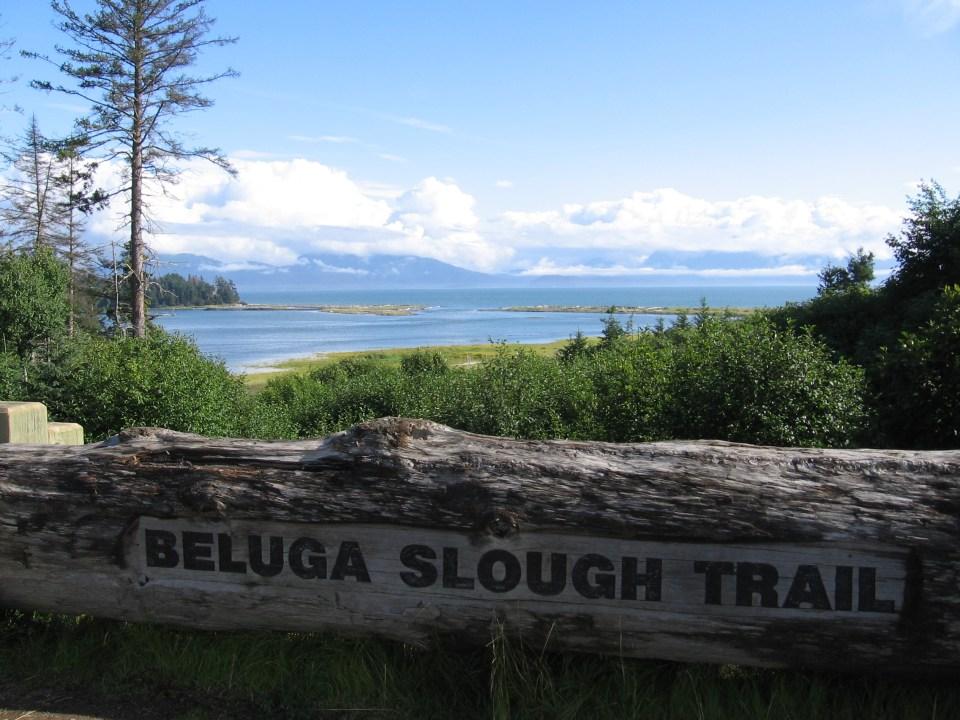 Beluga Slough Trail sign in Seward, Alaska