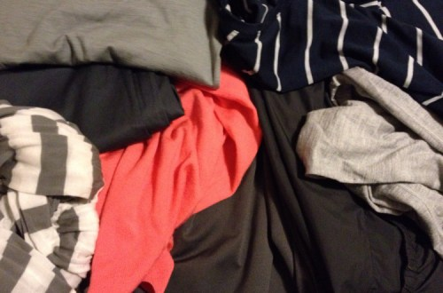 Navy, gray and coral travel clothes