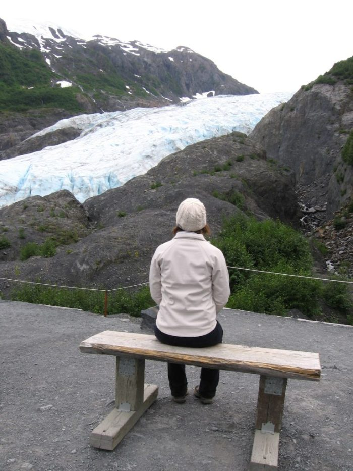 Looking at a glacier is Seward, Alaska