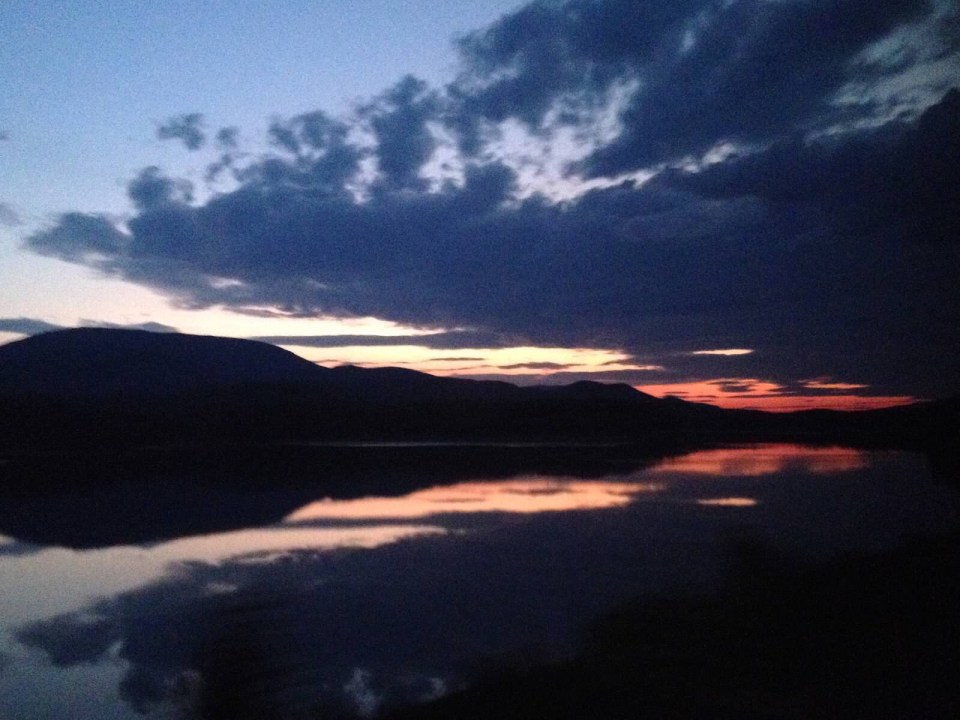 Glacier National Park sunset, train window views