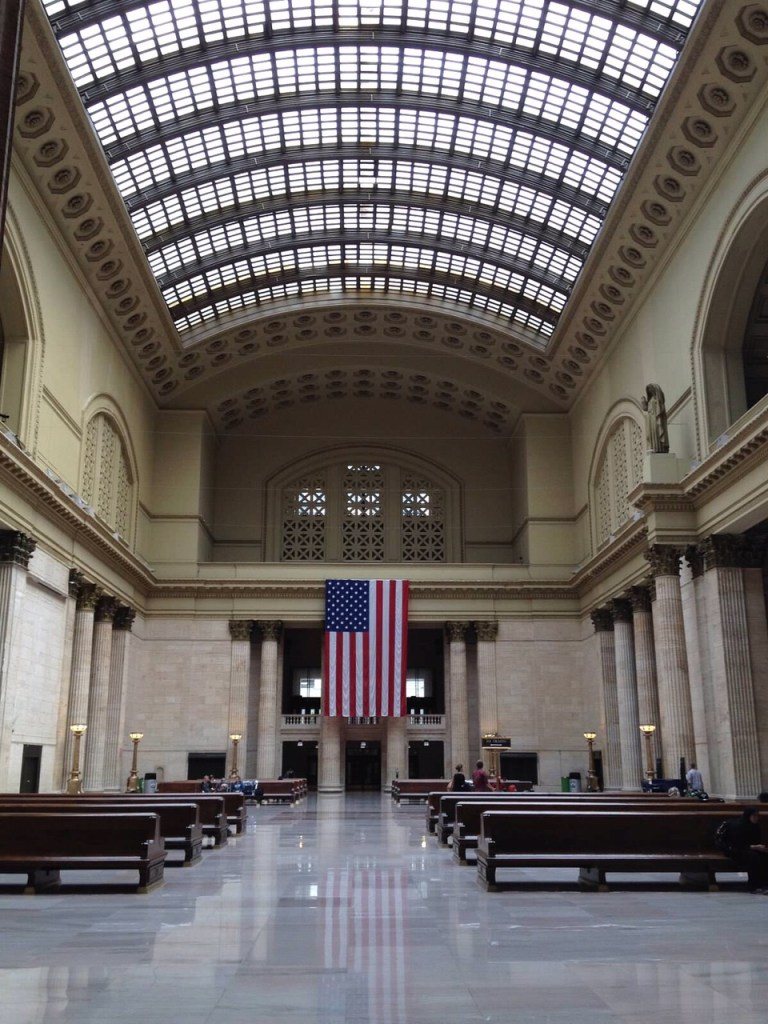 Chicago Union Station, train travel, flag