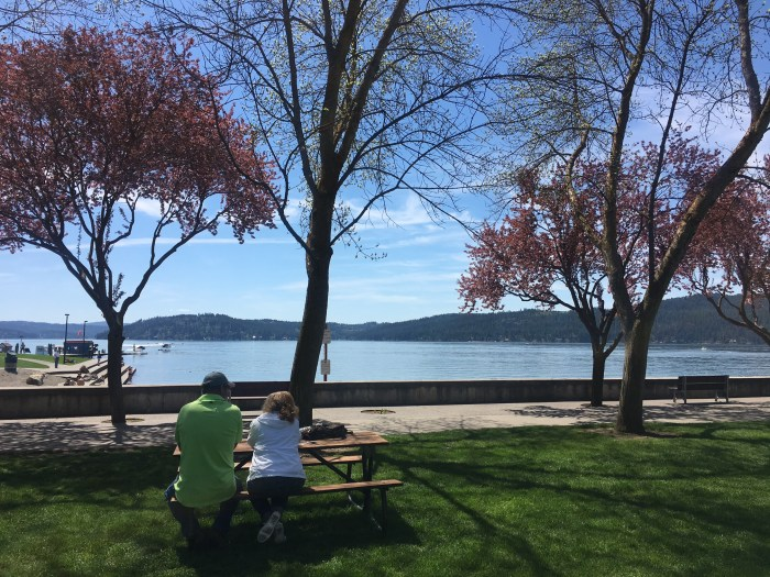 Lunch next to Lake Coeur d'Alene, Idaho travel with parents