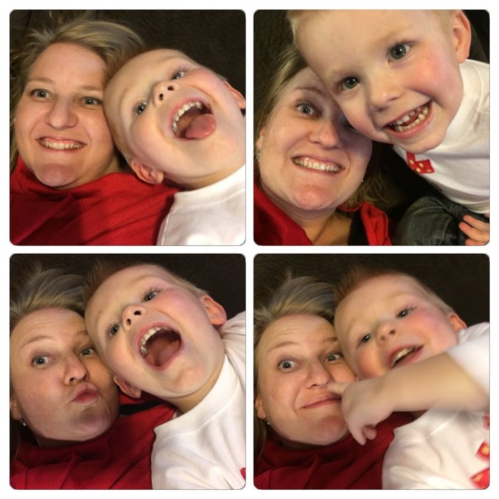 Aunt and nephew selfies at Christmas, work-life balance, family