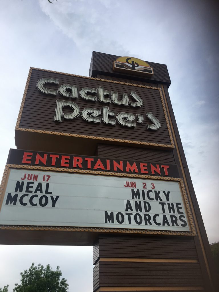 Cactus Pete's reader board with Micky and the Motorcars, casino, weekend getaway, Jackpot, Nevada