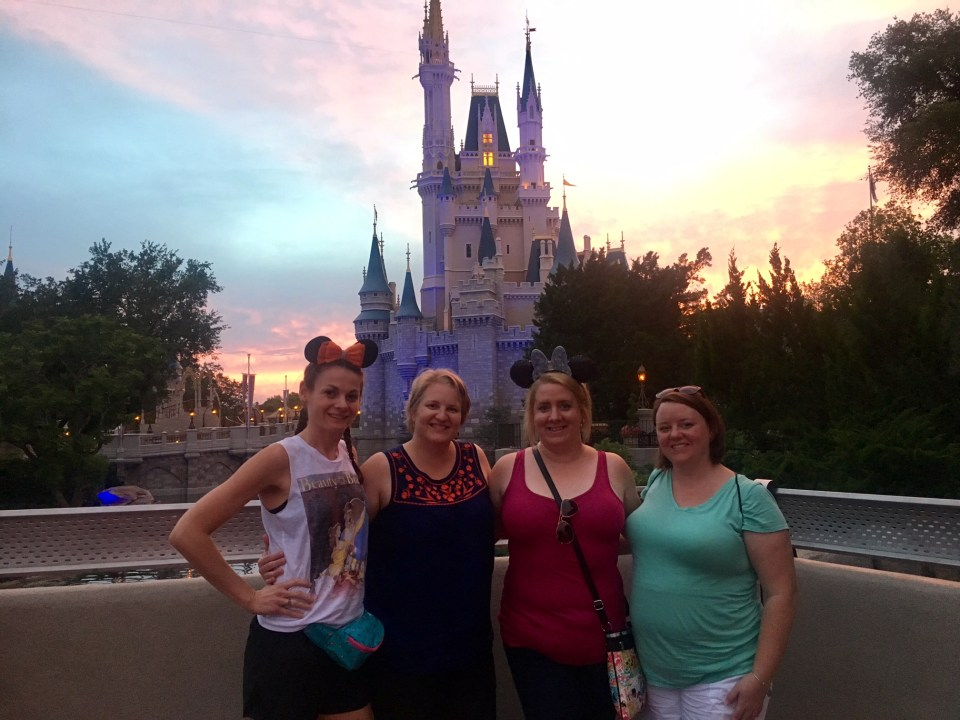 Roommates in front of castle at Magic Kingdom, Disney World advice, sunset