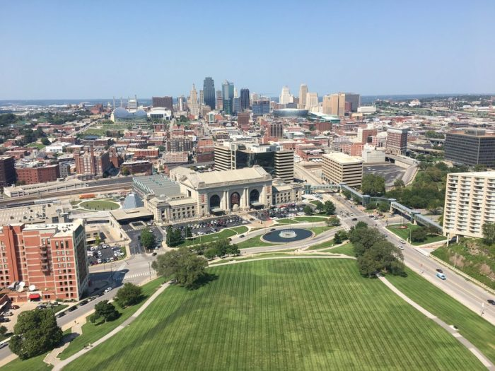 Kansas City skyline, blue skies view from monument