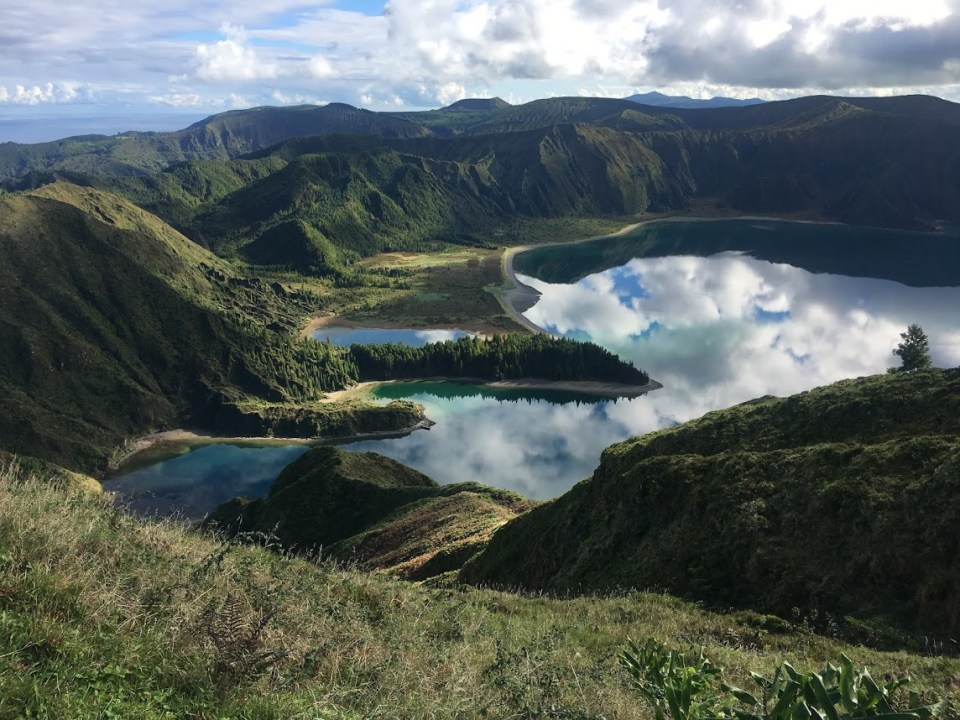 São Miguel Island, Lagoa do Fogo, stunning lake, reflected clouds sky