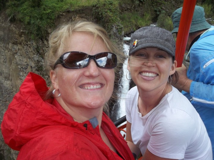 Friends at a waterfall in Ecuador thanks to travel thanksgiving friends women travelers