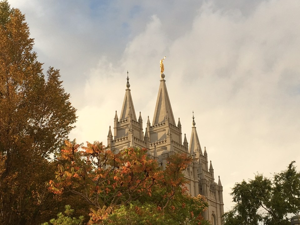 Salt Lake City Temple sunset fall