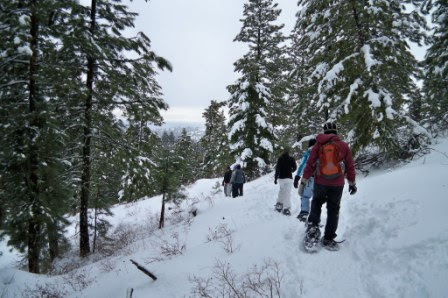 Friends snowshoeing at Bogus Basin in Idaho winter travel