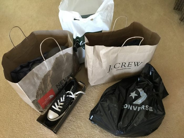Shopping bags and purchases