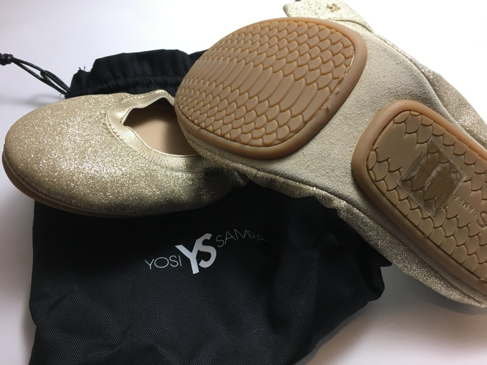 Yosi Samra foldable ballet flats gold shimmer travel