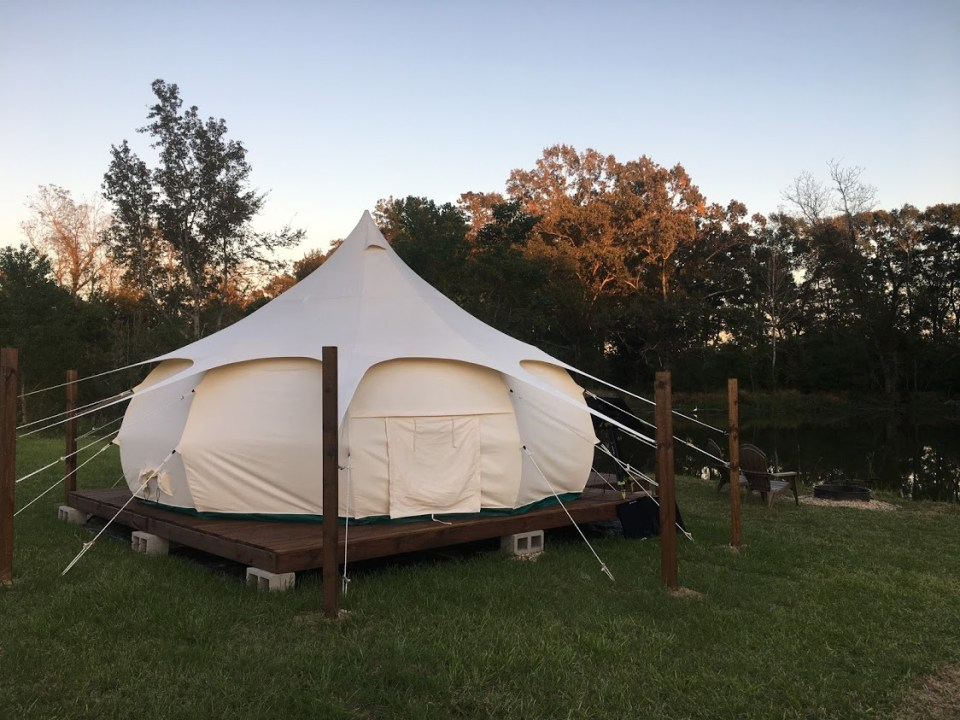unique homes on airbnb lotus tent Louisiana