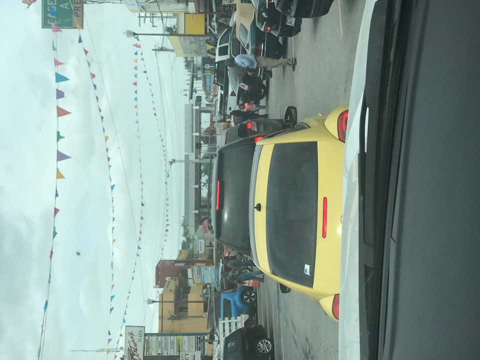Long line of traffic at the border crossing in Progresso, Mexico