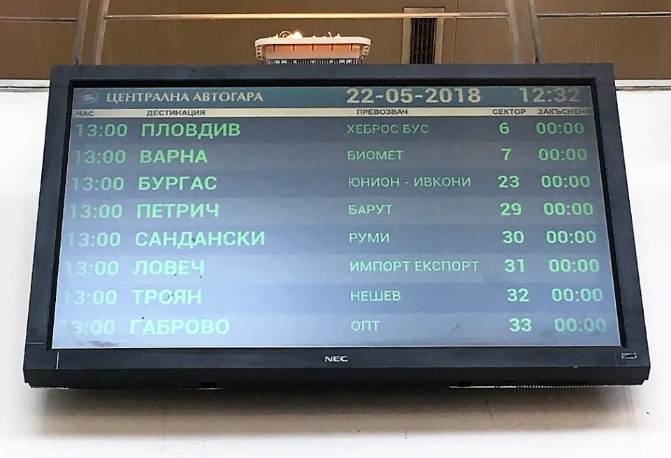 5 random travel tips. Bus station reader board in Cyrillic.