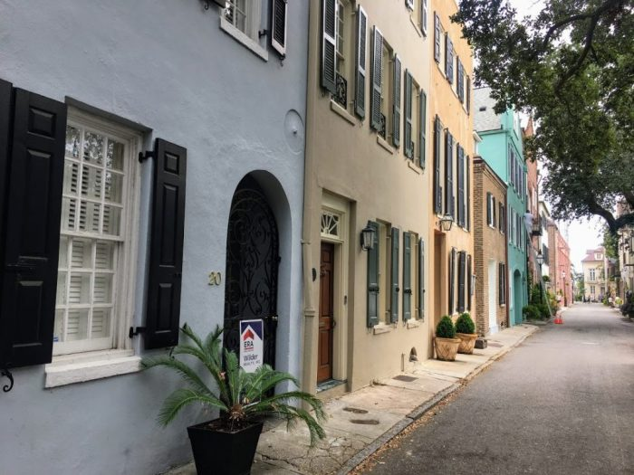 Charleston street with pastel houses