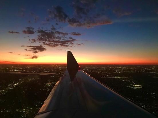 sunset from plane window