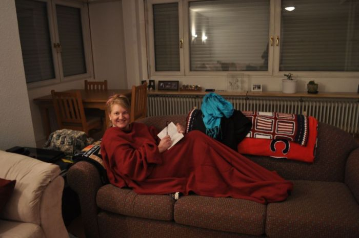 Friend's house in Germany red Snuggie