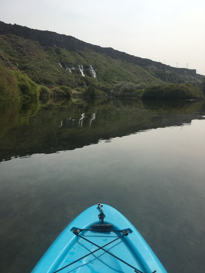 Blue kayak Ritter Island Snake River