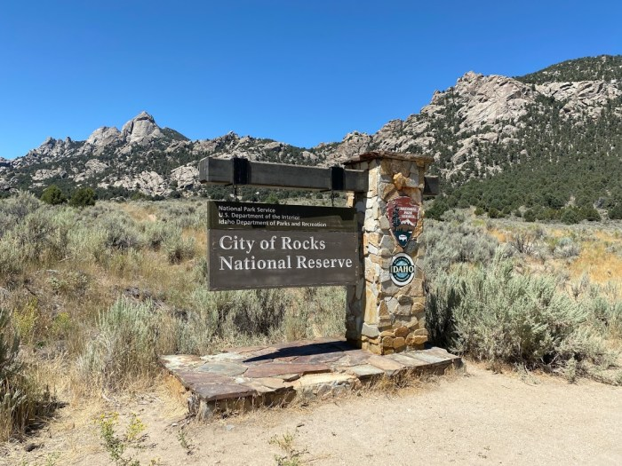 City of Rocks National Reserve welcome sign.