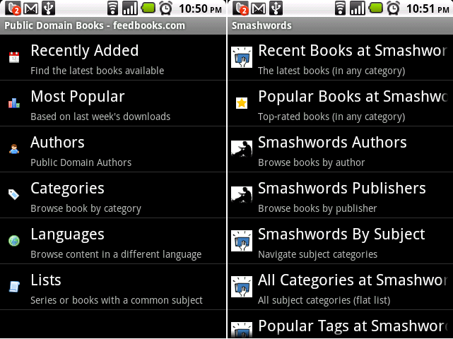 Feedbooks and Smashwords Catalog on FBreader