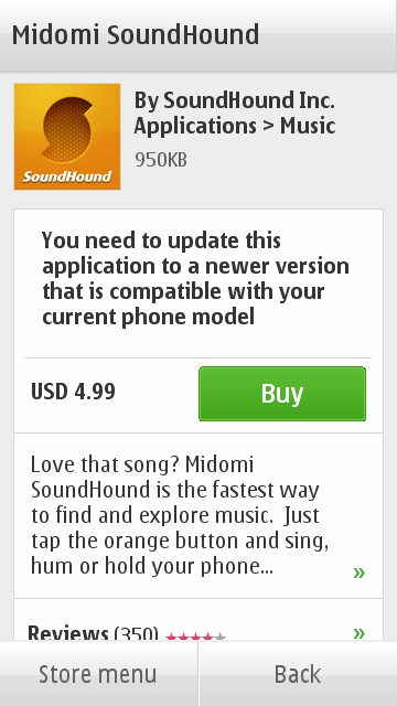 You need to update this application to a newer version that is compatible with your current phone mode