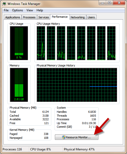 Resource Mon in Task Manager
