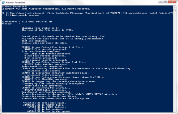 PowerShell command to pull up chkdsk results on Windows 7
