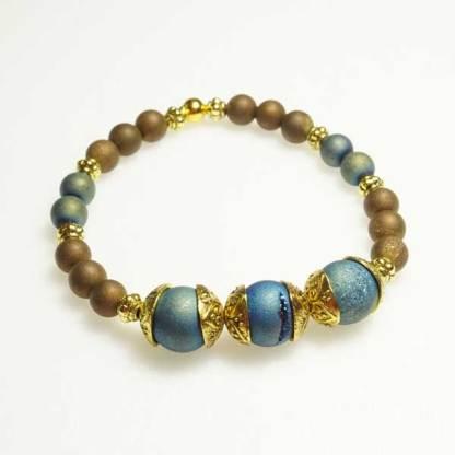 Druzy Aqua and Gold Vintage Bead Bracelet
