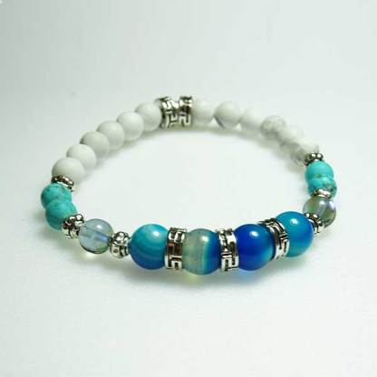Blue Striped Agate, White Howlite Bead Bracelet