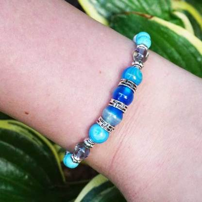 Blue Striped and White Howlite Braclet with Bali Beads