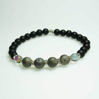 Druzy Silver and Black Onyx Bead Bracelet
