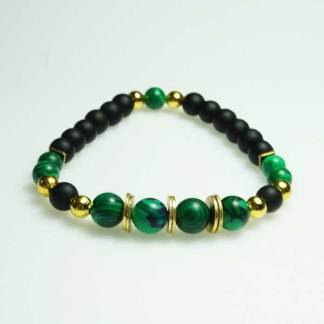 Green Malachite and Black Onyx Bead Bracelet