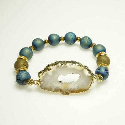 Druzy Agate Slice and Aqua Green Bead Bracelet