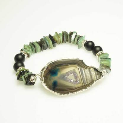 Druzy Agate Slice and Green Square Heishi Beads
