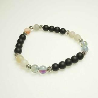 Black & Pearl Druzy Stacker Bracelet