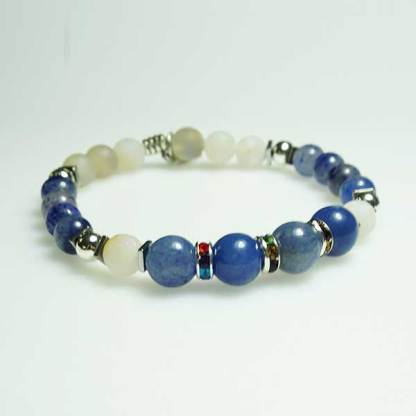 Blue Striped and White Pearl Druzy Agate Bracelet
