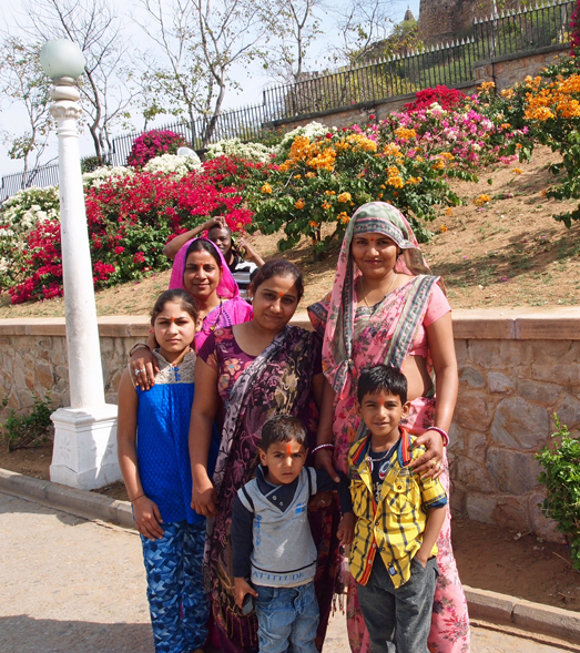 Family visiting the temple of Biral Mandir